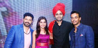L-R Director and Composer Avadhoot Gupte, Gauri Nalawade, Vaibhav Tatwawadi and Producer Purvesh Sarnaik At Music Launch Event of Kanha