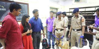 Sai Tamhankar felicitated Service dogs in a college event